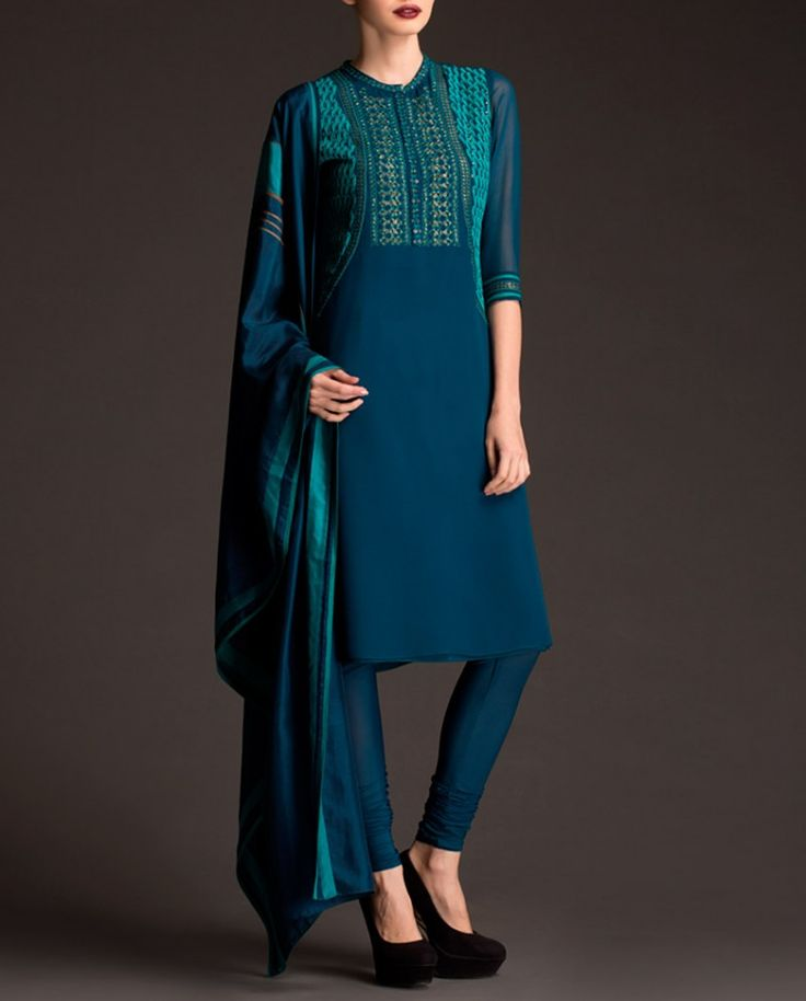 Teal Blue Suit with Embellished Yoke
