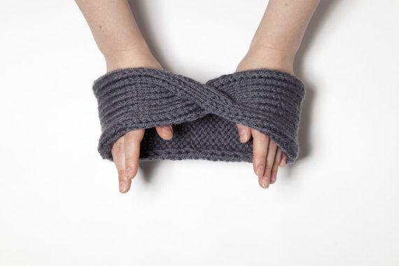 Gray Turban Ear Warmer Headband Grey Boho Knit by OneHatStore
