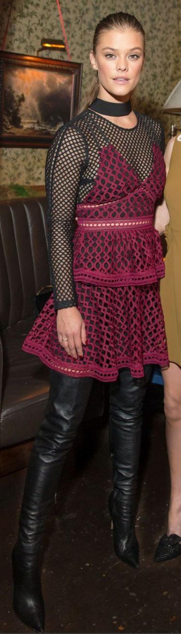 Who made Nina Agdal's red lace dress?