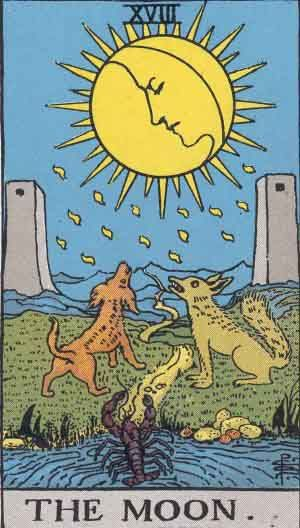 The Moon - Rider Waite Tarot Card Deck Article by Tony Fox Tarot                                                                                                                                                                                 More