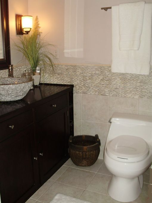 small zen bathroom with standing pebble tile small asian