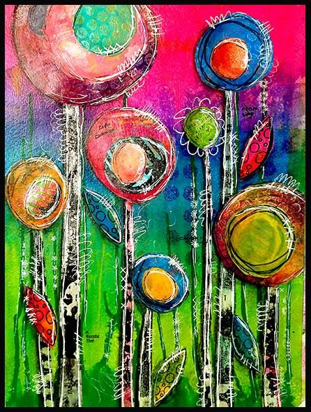 Art Dolls, Quilts and More to Gelli Arts - Gel Printing Plate  It's only January 1 and I am so tired of cold and snow! So, yesterday I decided to make flowers! My background is Dylusions ink sprays. My flowers and stems were cut from gelli print papers I have collected. I was inspired by Traci Bautisca's work!....think spring and stay warm!