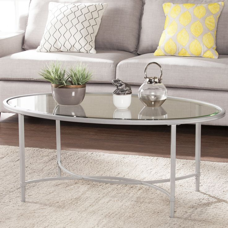 Portleven Metal/Glass Oval Coffee Table