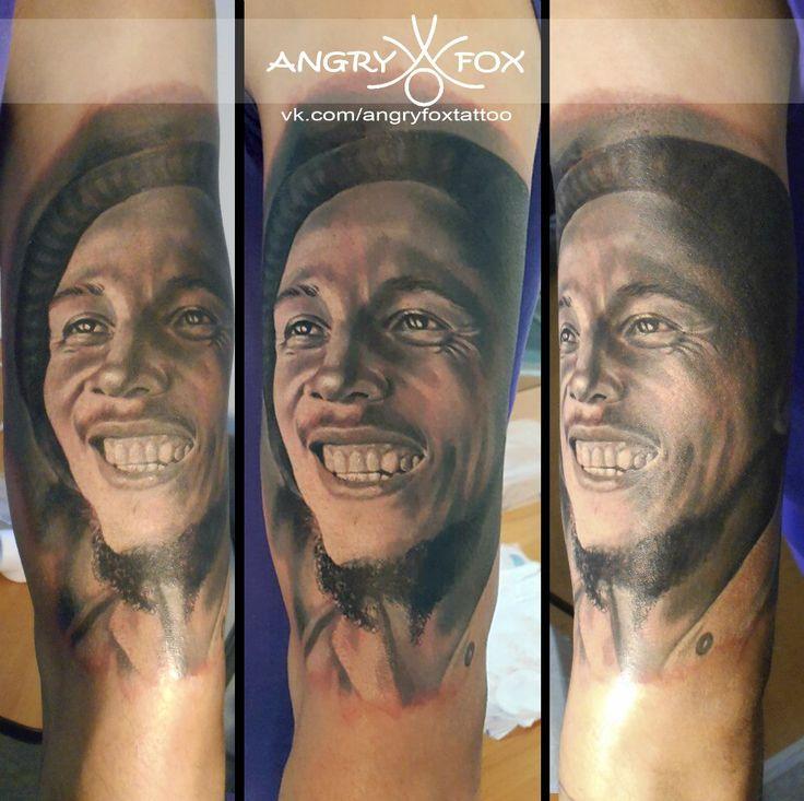 Тату работы Angry Fox. Портрет Боба Марли / Bob Marley`s black&white portrait