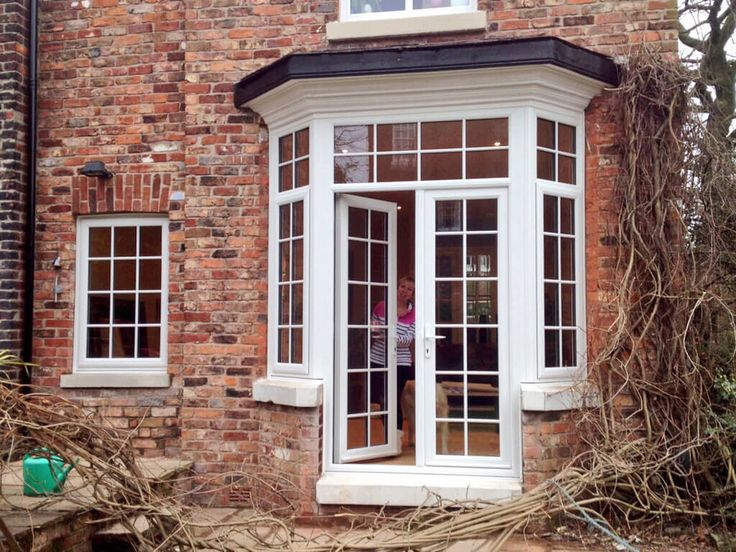 turn a bay window into french doors - Google Search