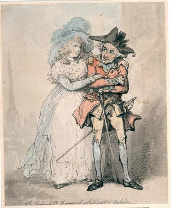 """""""The Wonderful Charms of a Red Coat and a Cockade"""" by Thomas Rowlandson (1785-1790) at the Birmingham Museums, Birmingham - Regardless of how the public viewed soldiers in general, many women have a thing for a man in uniform. Make him an officer, and the admirers grow correspondingly. How would I know? I've seen it before - I wrote a fanfic set during the American Revolution and wound up with American readers falling for a British officer from the cast. That says it all, I think ;)"""