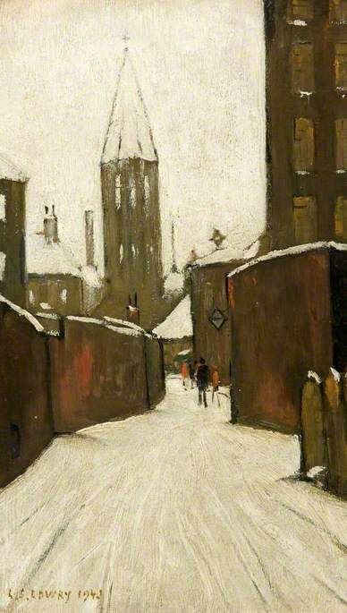 LAURENCE STEPHEN LOWRY Winter in Pendlebury, Manchester (1943)
