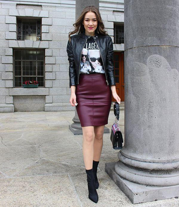 Saia de Couro - 17 Looks para usar nesse inverno | Acho Tendência | Edgy outfits, Fashion, Leather skirt