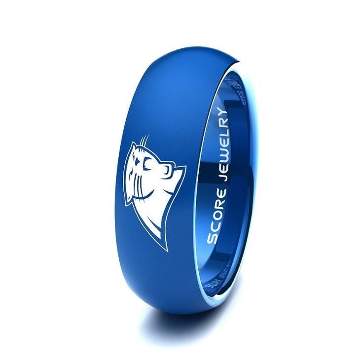 Black Tungsten Band with Domed Edge NFL Football Carolina Panthers Logo Ring