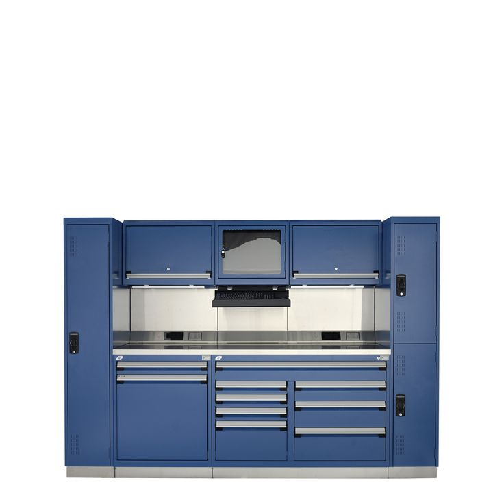 Rousseau Metal GT Automotive Technician Workcenter (Double) : Drawer Cap. (lb.): 400 // No. Drawers: 9 // Width (inches): 114 // Height (inches): 40 // Depth (inches): 30 // Net weight (lb.): 1456.96 // Material: Painted & stainless steel