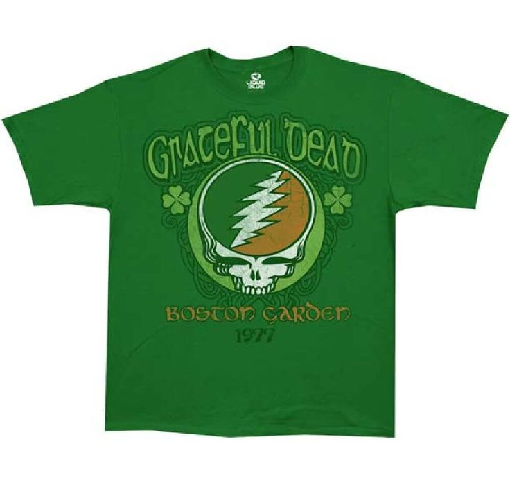 Our Grateful Dead concert t-shirt is from the band's 1977 Boston Garden show, which was performed to promote the band's most recent studio album, at the time, Terrapin Station. This Grateful Dead tee spotlights the band's lightning skull logo, along with Grateful Dead Boston Garden 1977, with clover leaves, and is made from 100% ring spun cotton. The graphics on this shirt feature washed out effects for a true vintage look. #gratefuldead #jerrygarcia #bandtees #rockerrags