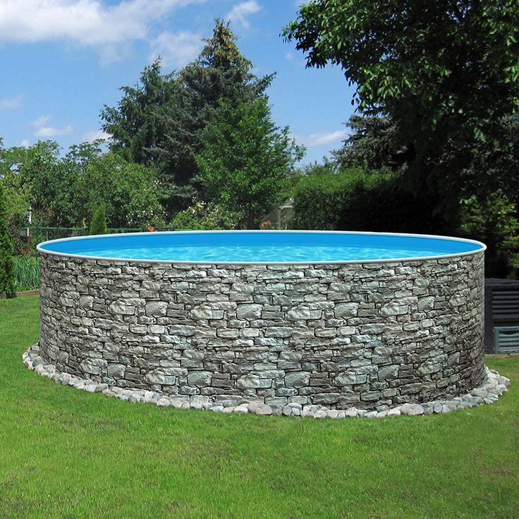 Unsere Neuen Stahlwand Rundpools Stone Machen Im Garten Schon Richtig Was Her Diy Swimming Pool Above Ground Pool Landscaping Backyard Pool