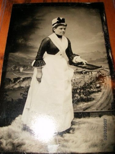 Mid-1800s tintype - Hospital nurse with tray.