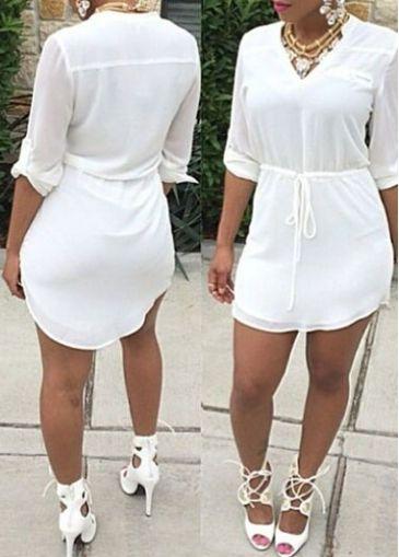 Drawstring Waist V Neck White Mini Dress