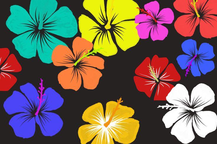 ハイビスカスイラスト:とっても可愛い花の素材沖縄と暖かい南国の海を連想させる花の画像素材集!赤、青、紫、ピンク色とりどりのハイビスカスを装飾デザインにどーぞ★全て無料でダウンロードして使える素材。