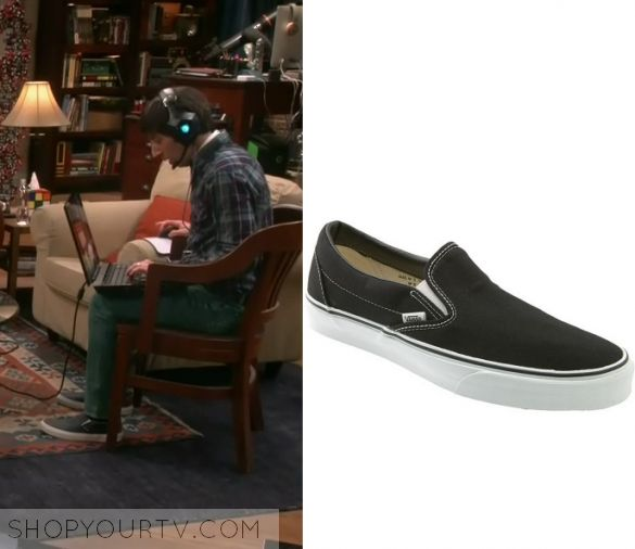 "The Big Bang Theory: Season 10 Episode 22 Howard's Slip on Shoes | Shop Your TV Howard Wolowitz (Simon Helberg) wears these black slip on sneakers in this episode of The Big Bang Theory, ""The Cognition Regeneration"".  They are the Vans Slip On Sneakers."