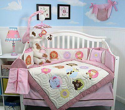 SOHO Pink Safari Jungle Nursery Bedding Set 13 pcs including Diaper Bag