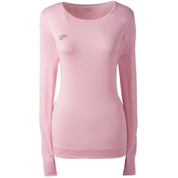 Lands' End Women's Petite Heat Crew - Thermaskin ($29) ❤ liked on Polyvore featuring activewear, pink, lands' end, petite activewear and petite sportswear