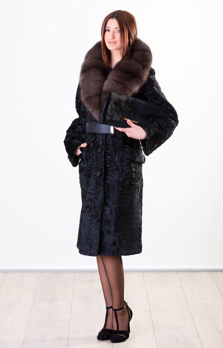 Black Swakara Lamb Fur Coat with Sable Collar