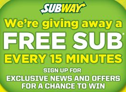 FREE $6 Subway Gift Card Giveaway Sweepstakes (5,856 Prizes) on http://hunt4freebies.com/sweepstakes