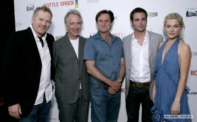 "Movie premiere of ""Bottle Shock"" at Chateau Montelena Winery, California. Randall Miller (director), Alan Rickman, Bill Pullman, Chris Pine and Rachael Taylor."