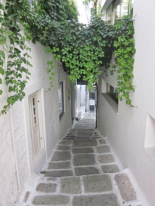 A white-washed street on Ios Island, Greece