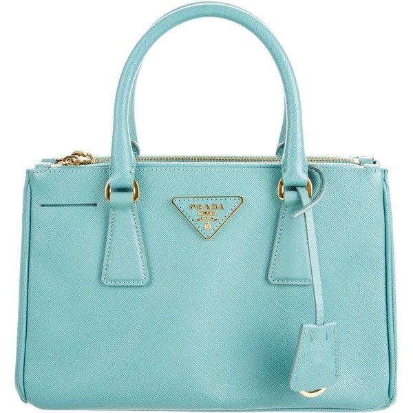Pre-owned Prada Mini Saffiano Lux Galleria Double Zip Tote ($995) ❤ liked on Polyvore featuring bags, handbags, tote bags, blue, prada purses, purse tote, man tote bag, prada tote and zip tote