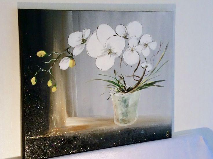 tableau orchid e blanche peinture acrylique reserve. Black Bedroom Furniture Sets. Home Design Ideas