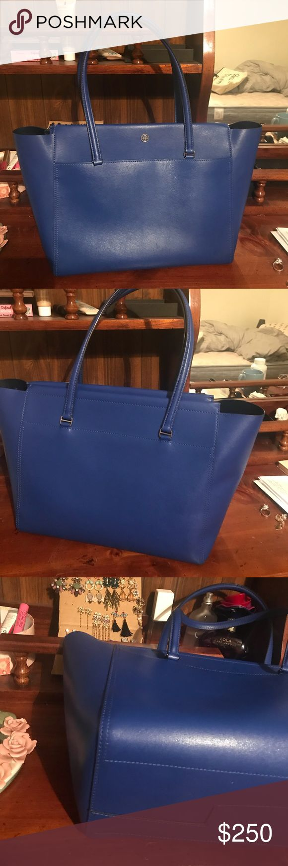 """Like new Tory Burch large parker tote SIZE INFO 13 ½""""W x 11 ¼""""H x 6 ½""""D. (Interior capacity: large.) 8 ½"""" strap drop. 2.1 lbs. DETAILS & CARE A bag that can keep up with you and look super-chic? It's a win-win. Top zip closure Exterior magnetic slip pocket Interior zip pocket; four wall pockets Leather lining Leather Tory Burch Bags Totes"""