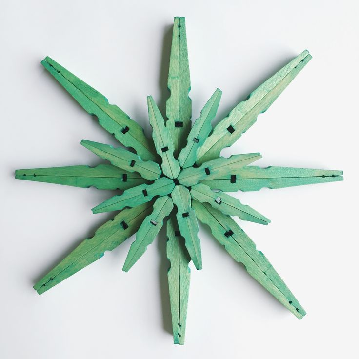 DIY Stained Wood Clothespin Snowflake Christmas Ornaments