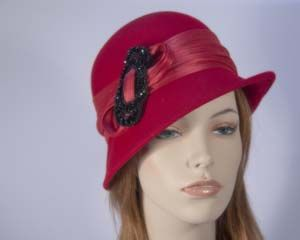 Red winter fashion cloche hat for races buy online in Australia F558R