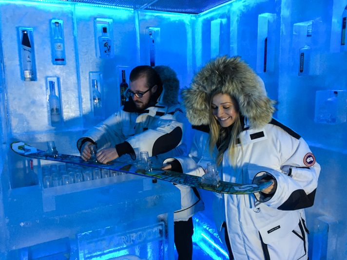 Drink Vodka in the Ice Bar Bearfoot Bistro, Whistler, Canada