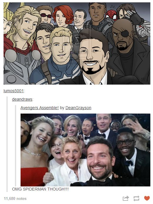 Avengers copying the famous Oscar selfie. (Note Spider-man and Loki trying to get in on the photo) its so perfect