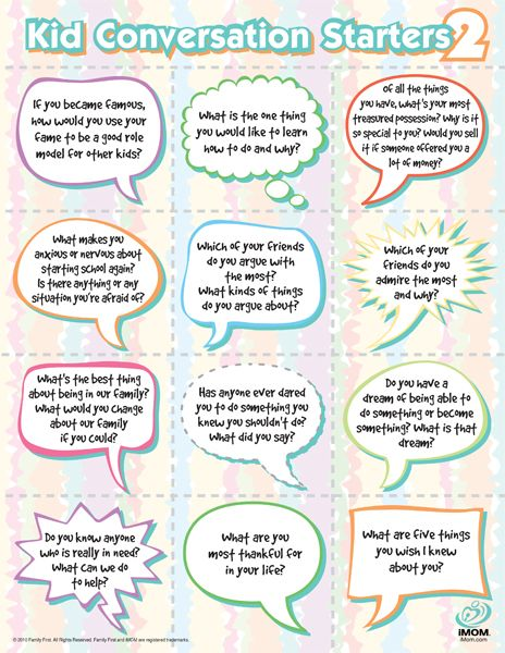 More great ideas for anyone conversing with a kid ... or perhaps amended to fit most anyone?