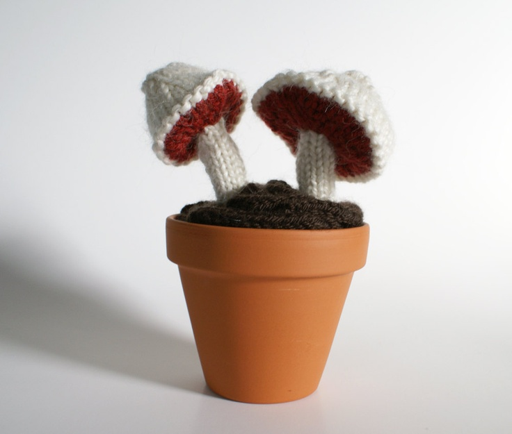 Knitted Mushroom Pair in Cream and Rust Red. $45.00, via Etsy.
