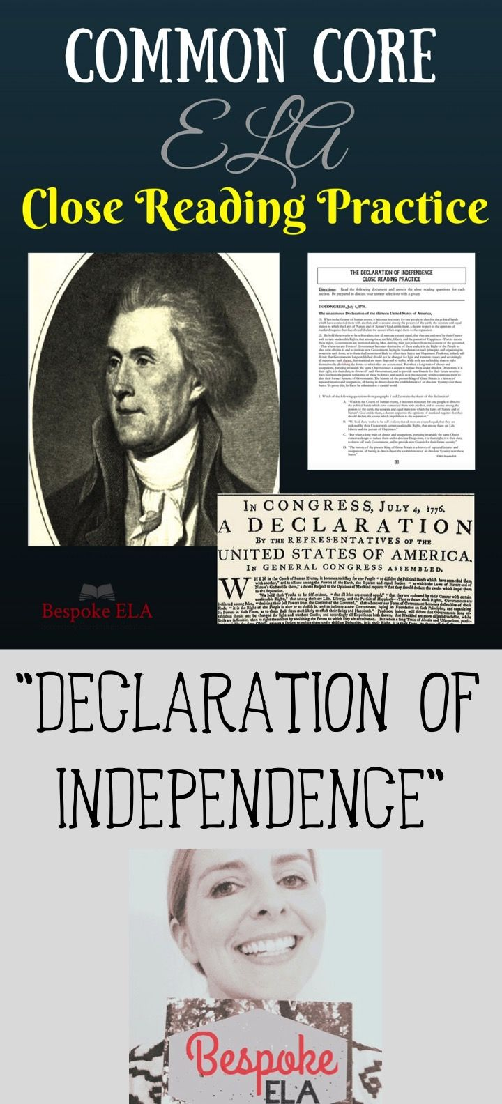 """This product contains a close reading activity for the """"Declaration of Independence."""" This close reading activity will target comprehension and analytical skills while exposing students to historical non-fiction. Skills assessed in this close reading include:  Context Clues Non-fiction Structure & Purpose Rhetorical Devices & Effect Textual Evidence  Have your students try it individually and then with a group to compare answers."""
