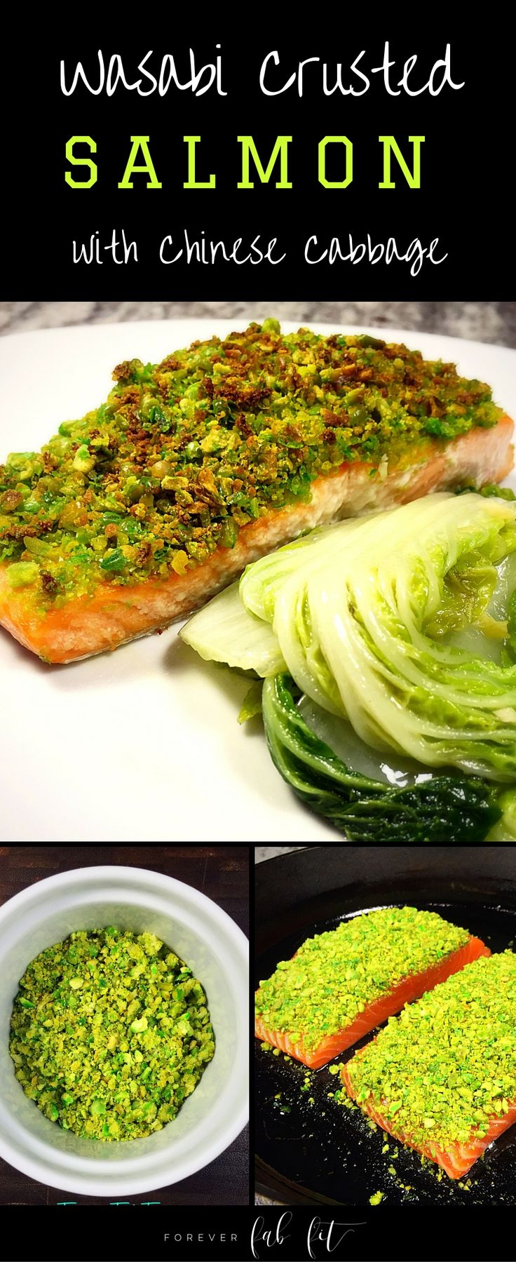 Wasabi Crusted Salmon with Stir-Fried Chinese Cabbage as a side. The salmon is delightful & surprisingly not over spicy w/ the wasabi pea crust.The cabbage has a delicious Asian-inspired sauce made from toasted sesame, soy sauce, garlic, ginger & rice vinegar. Quick & easy plus YUM!!  Click through to see this healthy recipe as well as more quick and easy recipes.  Also available - get instant access to the FREE Eat Clean Meal Planning System (50+ pages) to help you eat healthier.