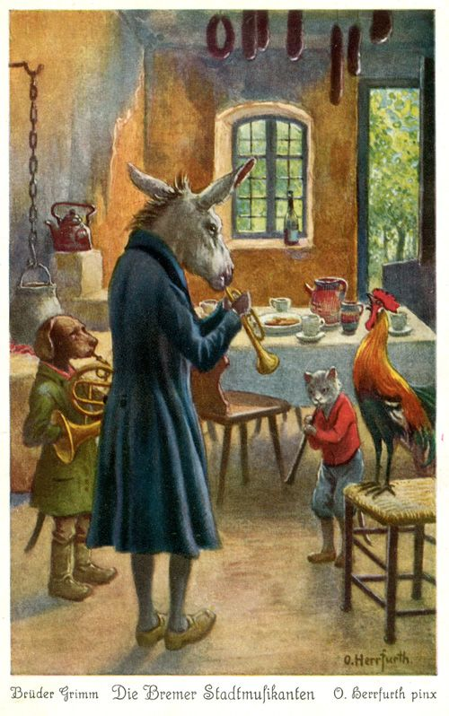 """The Bremen Town Musicians"" Artist Oskar Herrfurth - A Brothers Grimm Fairy Tale - England"