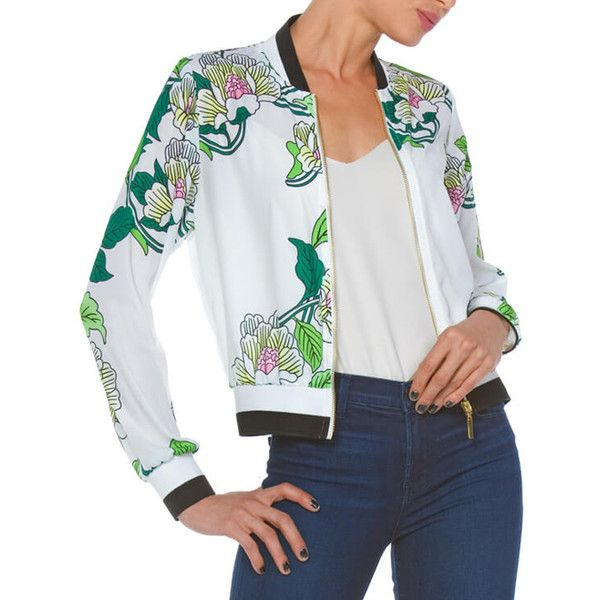 Carmin Ivory Floral Bomber Jacket (115 BRL) ❤ liked on Polyvore featuring plus size women's fashion, plus size clothing, plus size outerwear, plus size jackets, plus size, floral bomber jackets, womens plus jackets, floral print jackets, floral print bomber jacket and floral jacket