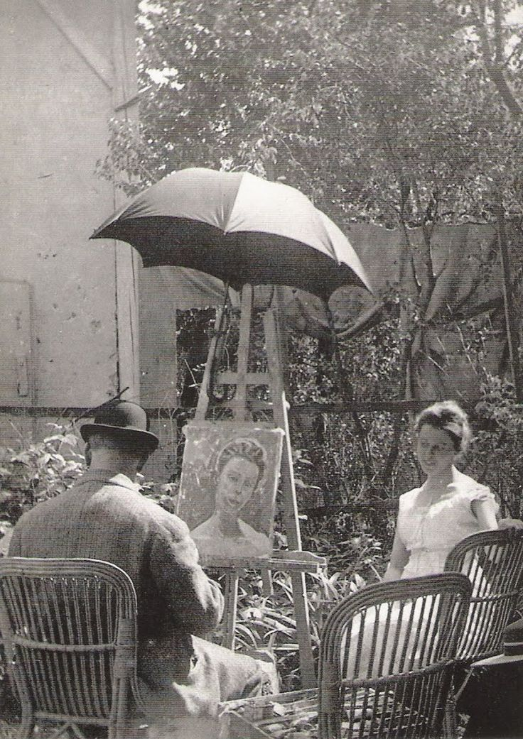 "Ferdinand Hodler travaille au portrait de ""Gertrud Müller ai jardin"". 1911."