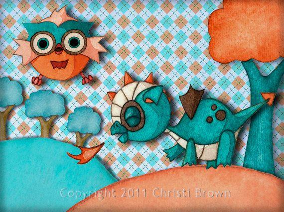 Pépinière Art Print bébé Dragon et hibou du papier recyclé des garçons ou des filles pour 5 x 7 turquoise orange pêche
