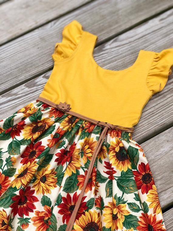 2f9d646c0c5c Easter sunflower dress / Easter floral dress / flutter sleeves dress ...