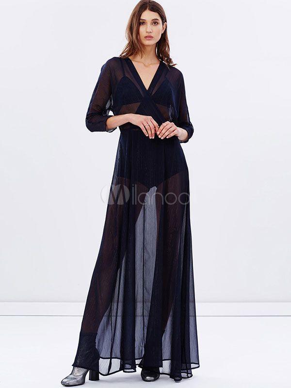 Manches 3/4 Semi Sexy pure longue robe mousseline de soie robe Maxi V cou féminin en marine foncé - Milanoo.com