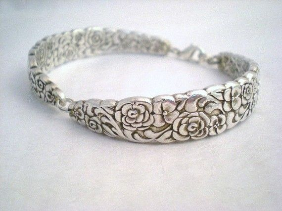 Silver Spoon Bracelet Wedding Jewelry Bridesmaid Bracelet Silverware Jewelry Silver - FLORAL BOUQUET 1960 on Etsy, $31.00 AUD