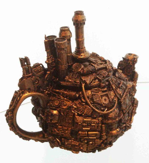 techno steampunk teapot sculpture by richardsymonsart on Etsy