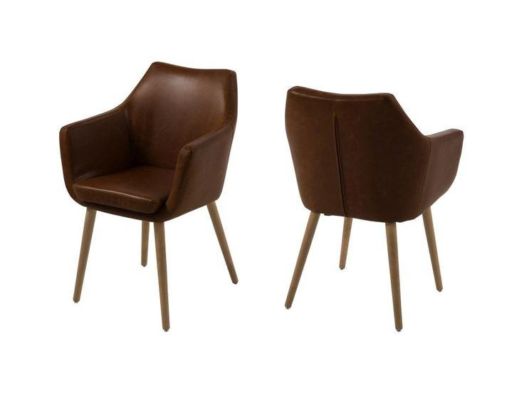 Krzesło Nora ciemnobrązowe ekoskóra nogi drewniane — Krzesła Actona — sfmeble.pl