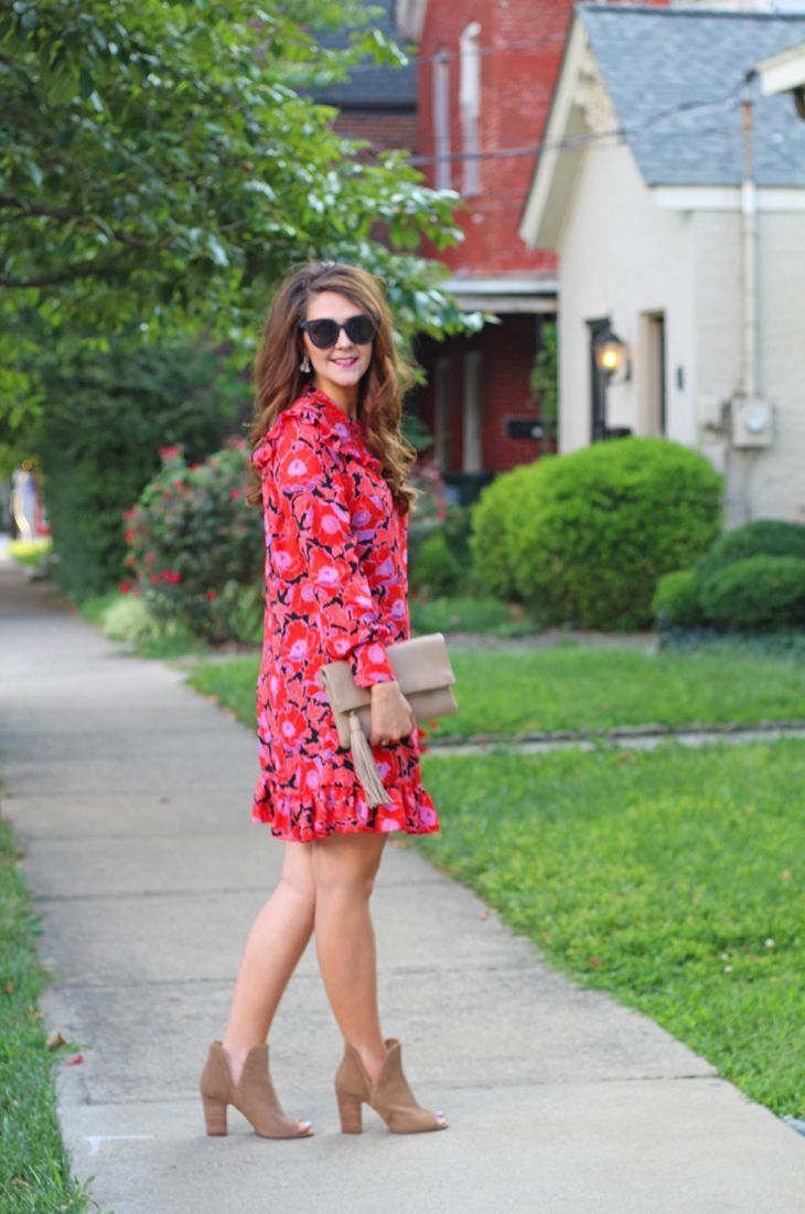 Must-have booties for late summer and early fall + fall floral dress   //  Who What Wear, Target style, southern style, peep-toe booties, perforated booties, side cut booties, Lucky booties, fall outfits, summer outfits, fall fashion outfits, summer fashion outfits, summer style 2017, fall fashion 2017, fashion trends, fashion tip, floral dresses, southern style, classy, trendy, outfits for women, outfit ideas, fall fashion, fall style, fall fashion for moms, street style