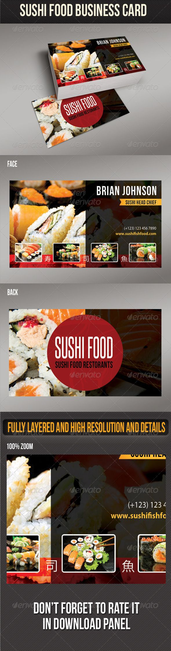 Sushi Food Business Card Template #card #vcard Download: http://graphicriver.net/item/sushi-food-business-card-02/8473769?ref=ksioks