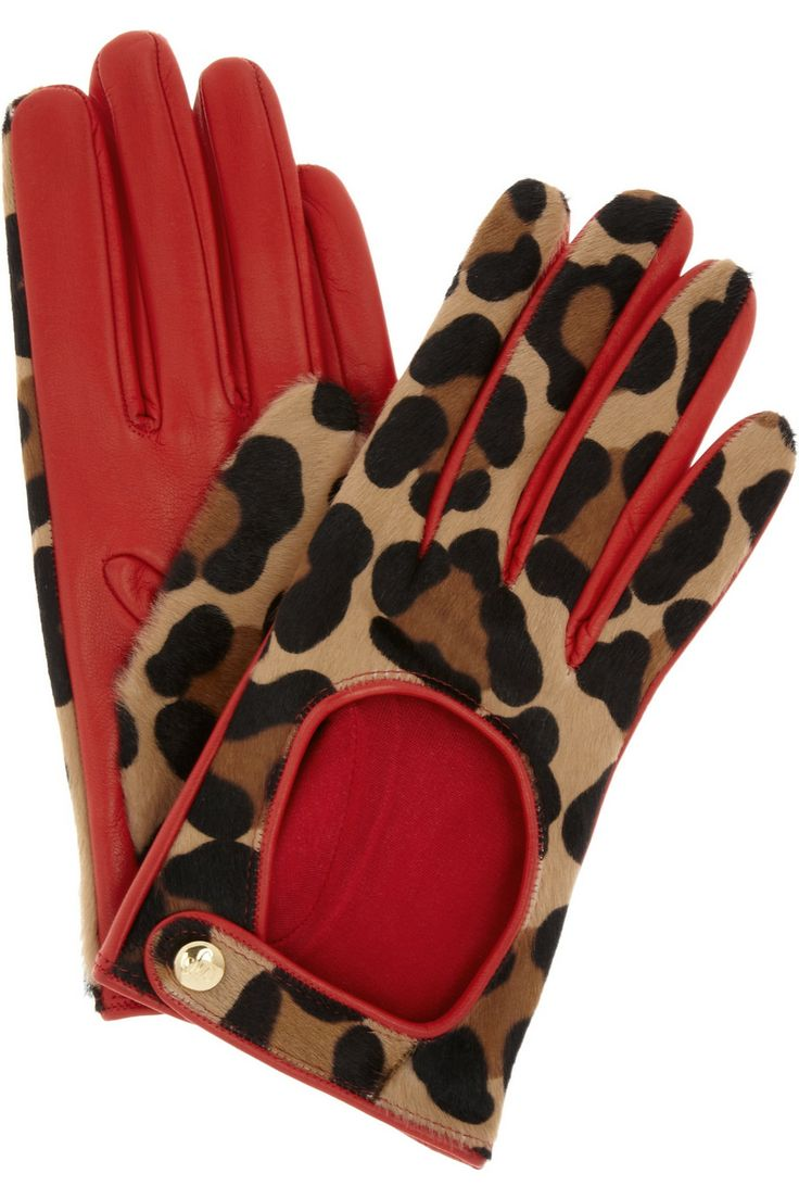 Womens leather gloves au - Agent Provocateur Leopard Print Calf Hair Driving Gloves