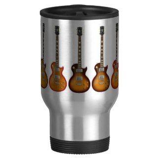 Five Sunburst Electric Guitars: Travel Mug
